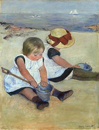 Children Playing on the Beach, 1884 by Cassatt | Painting Reproduction