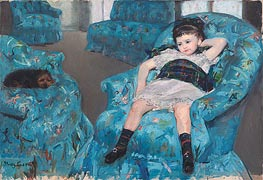 Little Girl in a Blue Armchair, 1878 by Cassatt | Painting Reproduction
