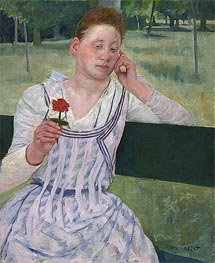 Woman with a Red Zinnia, 1891 by Cassatt | Painting Reproduction