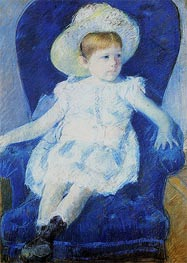 Elsie in a Blue Chair, 1880 by Cassatt | Painting Reproduction