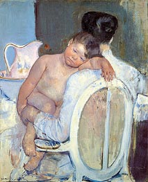 Woman Sitting with a Child in Her Arms | Cassatt | Painting Reproduction