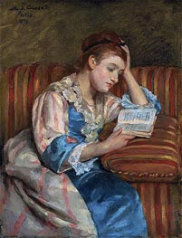 Mrs. Duffee Seated on a Striped Sofa, Reading | Cassatt | Painting Reproduction