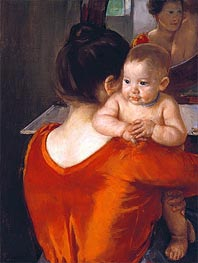 Woman in a Red Bodice and Her Child | Cassatt | Gemälde Reproduktion