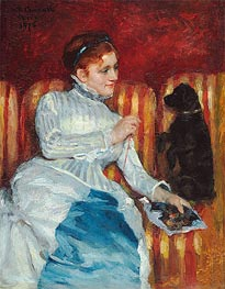 Woman on a Striped Sofa with a Dog, 1876 by Cassatt | Painting Reproduction