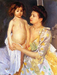 Jules Being Dried by His Mother, 1900 by Cassatt | Painting Reproduction