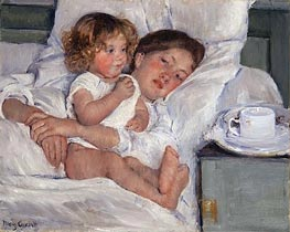 Breakfast in Bed, 1897 by Cassatt | Painting Reproduction