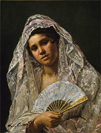 Spanish Dancer Wearing a Lace Mantilla, 1873 by Cassatt | Painting Reproduction