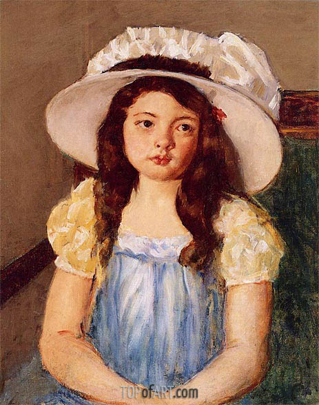 Francoise Wearing a Big White Hat, c.1908 | Cassatt | Painting Reproduction