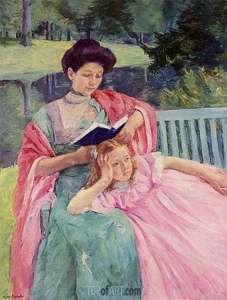 Augusta Reading to Her Daughter, 1910 | Cassatt | Painting Reproduction