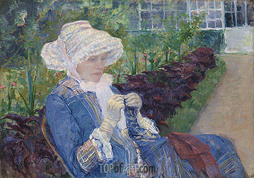 Lydia Crocheting in the Garden at Marly, 1880 | Cassatt | Painting Reproduction