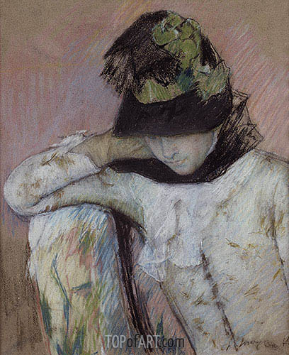 Young Woman in a Black and Green Bonnet, Looking Down, c.1890 | Cassatt | Painting Reproduction