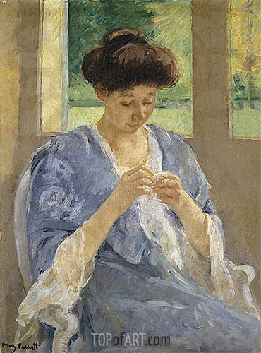 Augusta Sewing Before a Window, c.1905/10 | Cassatt | Painting Reproduction