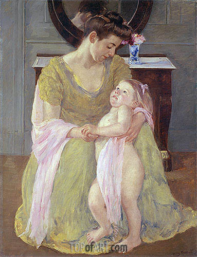 Mother and Child with a Rose Scarf, c.1908 | Cassatt | Gemälde Reproduktion
