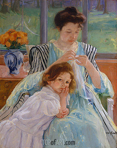 Young Mother Sewing, 1900 | Cassatt | Gemälde Reproduktion