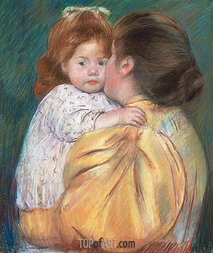 Mother and Child (Maternal Kiss), 1897 | Cassatt | Gemälde Reproduktion