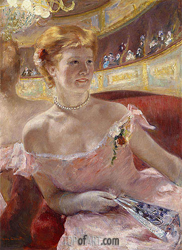 Woman with a Pearl Necklace in a Loge, 1879 | Cassatt | Painting Reproduction