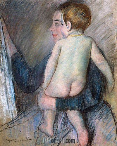 Young Woman Holding a Child (At the Window), c.1890 | Cassatt | Gemälde Reproduktion