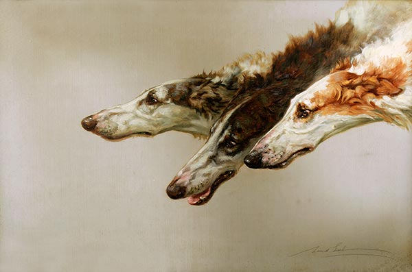 Borzoi Heads, c.1905 | Maud Earl | Painting Reproduction