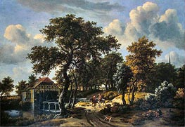 The Travelers, 1662 by Meindert Hobbema | Painting Reproduction