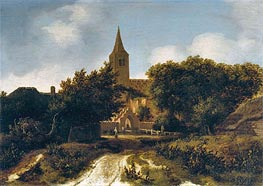 Wooded Landscape with Figures near a Church | Meindert Hobbema | Painting Reproduction