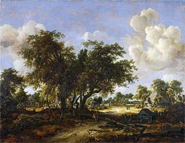 Wooded Landscape with Cottages, 1665 von Meindert Hobbema | Gemälde-Reproduktion