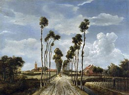 The Avenue at Middelharnis, 1689 von Meindert Hobbema | Gemälde-Reproduktion