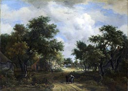 A Road Winding Past Cottages, c.1667/68 von Meindert Hobbema | Gemälde-Reproduktion