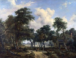 A Woody Landscape with a Cottage | Meindert Hobbema | Gemälde Reproduktion