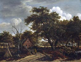 Cottages in a Wood, c.1660 von Meindert Hobbema | Gemälde-Reproduktion