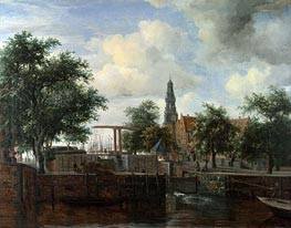The Haarlem Lock, Amsterdam | Meindert Hobbema | Painting Reproduction