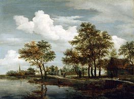 A River Scene | Meindert Hobbema | Painting Reproduction