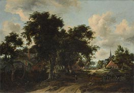 Entrance to a Village, c.1665 von Meindert Hobbema | Gemälde-Reproduktion