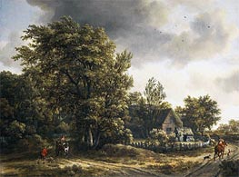 Wooded Landscape with a Village, c.1665 von Meindert Hobbema | Gemälde-Reproduktion
