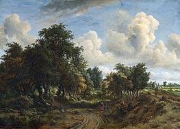 A Wooded Landscape, 1663 by Meindert Hobbema | Painting Reproduction