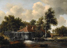 A Watermill, c.1665/68 by Meindert Hobbema | Painting Reproduction