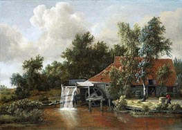 A Watermill, 1668 by Meindert Hobbema | Painting Reproduction