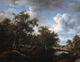 Landscape with Angler, 1664 by Meindert Hobbema | Painting Reproduction
