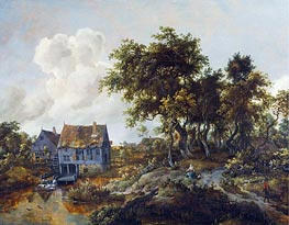 A Watermill Beside a Woody Lane | Meindert Hobbema | Painting Reproduction