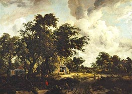 Village with Water Mill among Trees | Meindert Hobbema | Painting Reproduction