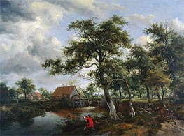 Wooded Landscape with Watermill | Meindert Hobbema | Painting Reproduction