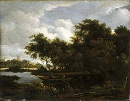 Landscape with a River | Meindert Hobbema | Painting Reproduction