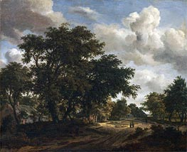 Landscape with a Wooded Road | Meindert Hobbema | Painting Reproduction