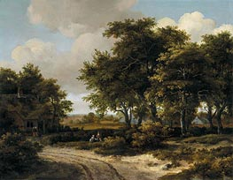 A Wooded Landscape with a Roadside Cottage | Meindert Hobbema | Painting Reproduction