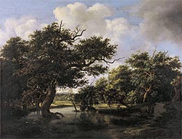 Woodland Pond, c.1660 by Meindert Hobbema | Painting Reproduction