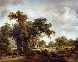 The Farmhouse | Meindert Hobbema | Painting Reproduction