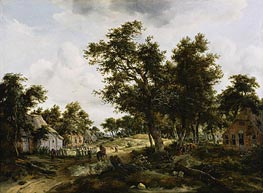 A Wooded Landscape with Travelers on a Path Through a Hamlet | Meindert Hobbema | Painting Reproduction