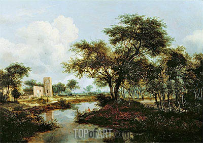 A Ruin on the Bank of a River, 1667 | Meindert Hobbema | Painting Reproduction