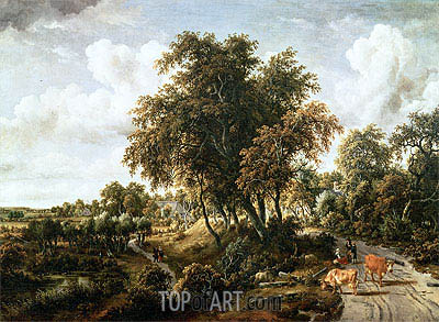 Road on the Dyke, 1663 | Meindert Hobbema | Painting Reproduction