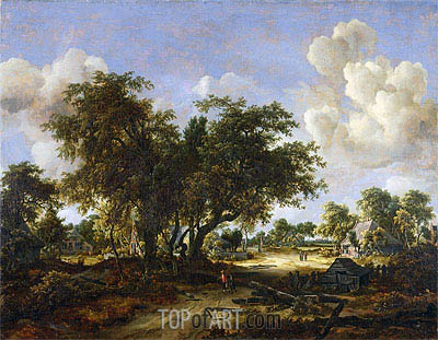 Wooded Landscape with Cottages, 1665 | Meindert Hobbema | Painting Reproduction