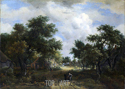 A Road Winding Past Cottages, c.1667/68 | Meindert Hobbema | Painting Reproduction